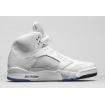 Air Jordan 5 Retro White Metallic Silver-Black 136027-130